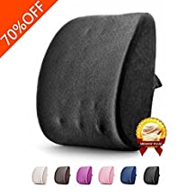 Balichun Lumbar Pillow Memory Foam Lower Back Support Cushion Pillow for Car, Office Chair and Travel-Ergonomic Design Pillow Relieves Back Pain (Supremacy Black)