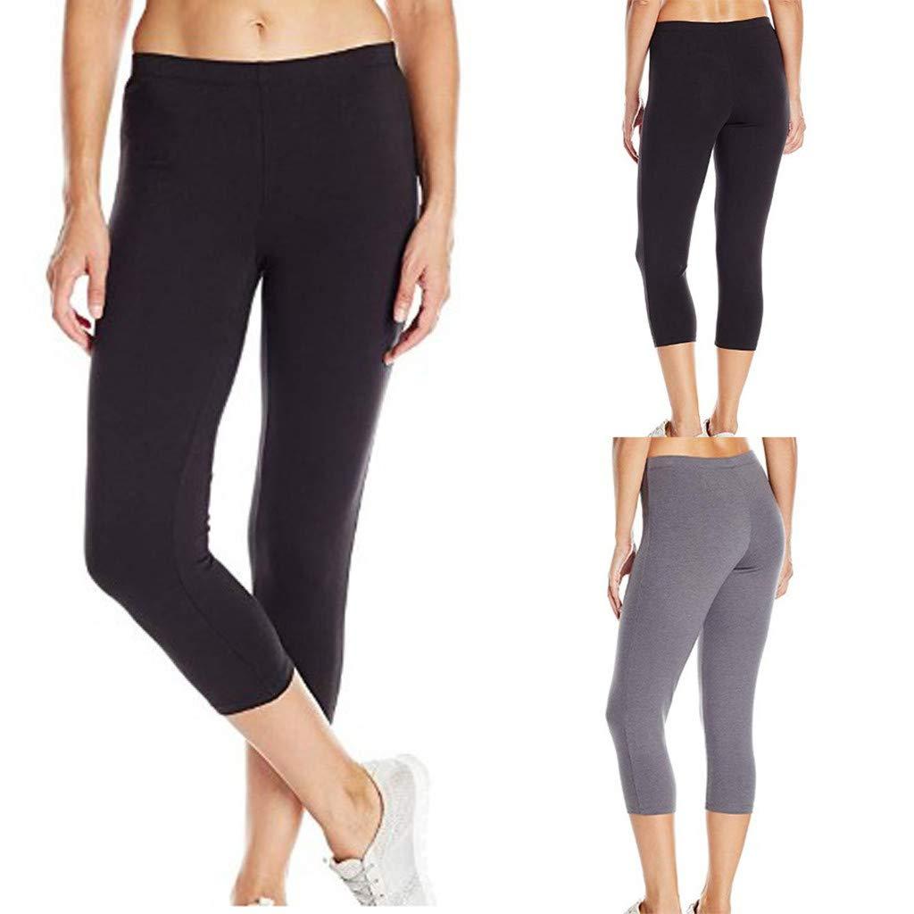 3//4 Leggings Estivi Sportivi Donna,Ginnastica Allenamento Leggings a Vita Alta Opaco Gym Yoga Fitness Spandex Palestra Pantaloni Leggins Push Up