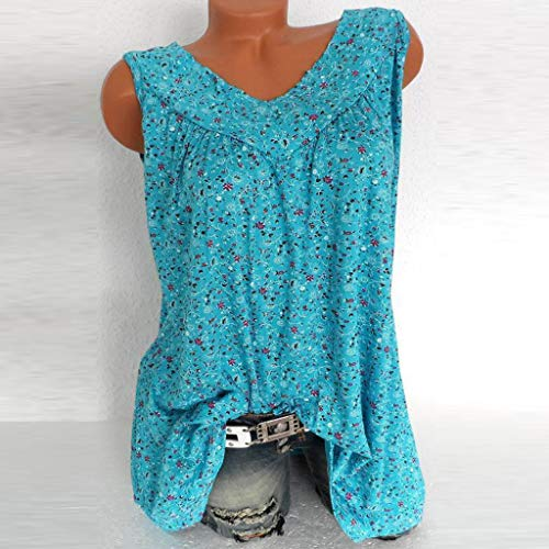 TnaIolral Women Blouse V-Neck Summer Loose Floral Printed Tops T-Shirt Blouse Sky Blue by TnaIolral (Image #1)