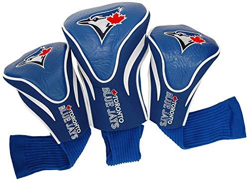 Team Golf MLB Toronto Blue Jays Contour Golf Club Headcovers (3 Count), Numbered 1, 3, & X, Fits Oversized Drivers, Utility, Rescue & Fairway Clubs, Velour lined for Extra Club Protection