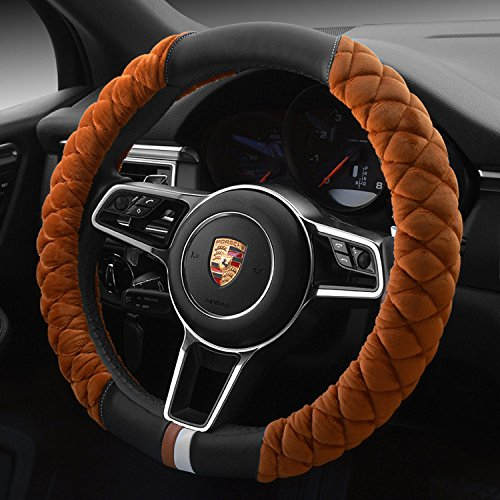(Besplore Car Steering Wheel Cover(Soft Version),Velour Fabric Leather,Warm Hands in Winter,Non-slip,14.96 Inch,Brown)