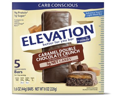 Elevation by Millville Caramel Double Chocolate Advance Bars 1.6oz x5 bars( total 8 oz), pack of ()