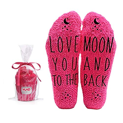 Love You to the Moon and Back Funny Socks - Cool Pink Fuzzy Novelty Cupcake Packaging for Her - Gift Idea for Mom, Wife, Sister, Friend, Aunt or Grandma - Birthday, Christmas, Anniversary - 1 Pair