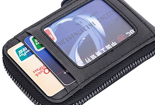 Pelle Tesser Mini Titolare Credito Blocco Porta Per Della Carta Donna Di Uomo Blu Portafoglio Estwell Rfid TqWFt7U
