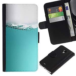 // PHONE CASE GIFT // Moda Estuche Funda de Cuero Billetera Tarjeta de crédito dinero bolsa Cubierta de proteccion Caso Samsung Galaxy S4 Mini i9190 / WATER SURFACE WAVES /