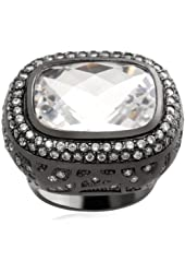 Jewelili Created White Quartz and White CZ Sterling Silver Ring - Size 7