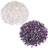 SUNYIK Amethyst/Rock Quartz Tumbled Chips Crystal Crushed Pieces Irregular Shaped 1pound(about 460 gram)