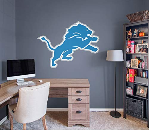 FATHEAD NFL Detroit Lions - Logo- Officially Licensed Removable Wall Decal, Multicolor, Giant -