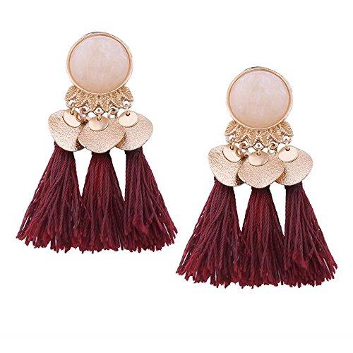 (Ethinc Wine Red Tassel Earrings Pendant Bohemian Earrings For Women Fringe Earrings With Stone Vintage Jewelry)