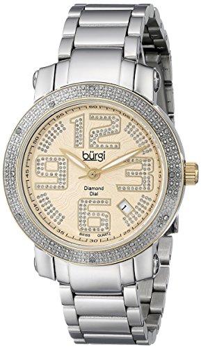 - Burgi Women's BUR091TTG Silver Quartz Watch with Yellow Gold Dial and Silver Bracelet