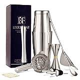 Barfame Cocktail Shaker Set Stainless Steel Bartender Kit: 18oz & 28oz Boston Shaker, Double Jigger, 8''Muddler, 2 Liquor Pourers, 12'' Mixing Spoon, Cocktail Strainer, Cocktail Mesh Strainer
