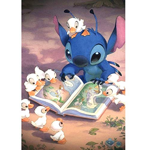 "20x14""Stitch and Duck DIY 5D Diamond Painting by Numbers Kits DIY 5D Diamond Canvas Painting by Number  Lilo and Stitch Full Drill Crystal Rhinestone Diamond Embroidery Paintings Disney  Lilo Stitch"