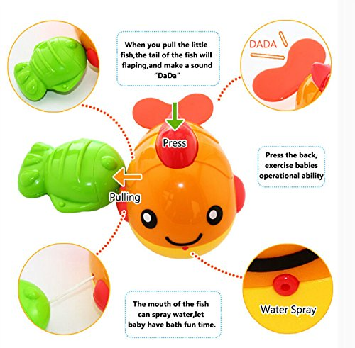 YIXIN Baby Bathtime Fun Spillers Stacking Cups with Floating Squirt Fish Wind-up Toys Water Pocket Toys Sets for Baby Bathroom Early Learning