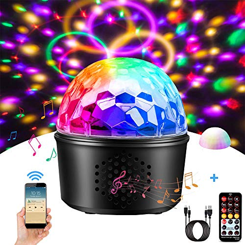 Disco Lights Bluetooth Speaker, 3-in-1 Party Lights Sound Activated Disco Ball 9 Colors DJ Stage Color Light Night Lamp with Remote Control for Kids Bedroom Wedding Birthday Bar Club