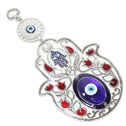 Turkish Blue Evil Eye  Nazar  5  Hamsa Hand Red Flowers Amulet Wall Hanging Home Decor Protection Blessing Housewarming Birthday Gift Us Seller