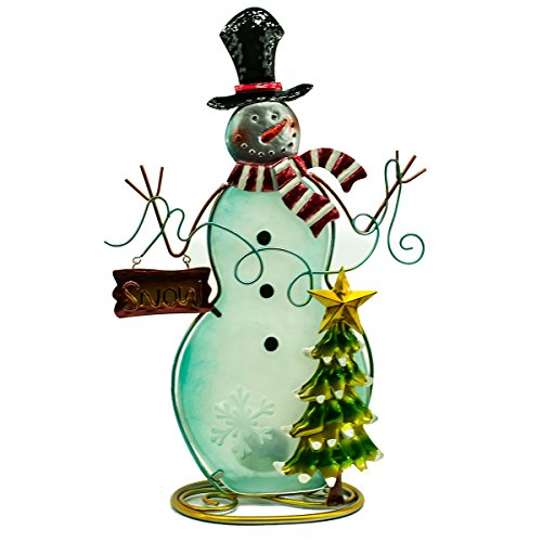 Glass Snowman Candle Holder 16.5