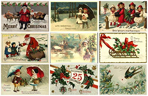 Victorian Vintage Christmas Card #102 Printed Collage Sheet 8.5 x (Decoupage Card)