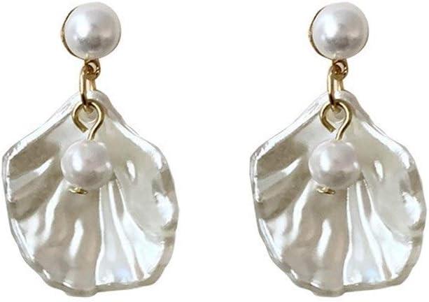 NOBRAND S925 aretes Colgantes Aguja de Temperamento luz Plateada Shu Elegantes aretes de Perlas aretes Cortos Vacaciones Salvajes Joyería Nupcial (Color : S925 Silver Post C699)