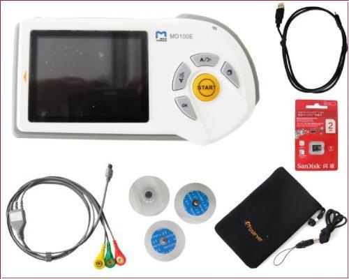 EKG Gerät mobil handheld MD100E Farb LCD mit viel Zubehör (Elektroden + Kabel + Batterien) 1 Stück ideal für Praxen, Häusliche Krankenpflege,Pflegedienste und Med. Berufe