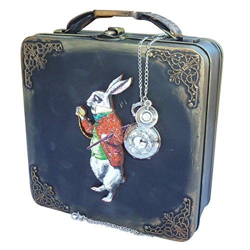 Alice in wonderland purse BOX rabbit tEA pot cup silver TIMe with watch necklace HANDMADE (Tea Time Alice In Wonderland Costume)
