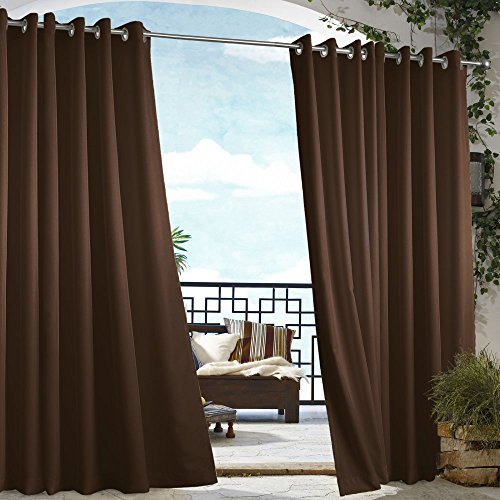 Outdoor Decor Gazebo Grommet Curtain Panel Chocolate Brown 50x96