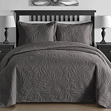 EXTRA Lightweight & Breathable Thermal Pressing Modern Quilted Botanical 3-piece Bedspread Coverlet Set (King/Cal King, Gray)
