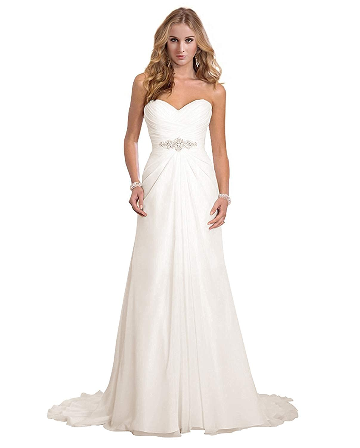 Dreambridal Women S Chiffon A Line Wedding Dresses Simple Sweetheart Beach Bridal Gowns With Veil