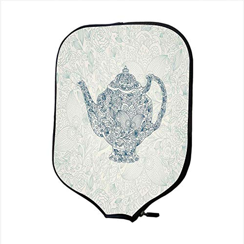 Neoprene Pickleball Paddle Racket Cover Case,Kitchen Decor,Mandala Teapot Vintage Style Design Floral Background Ornamental Lace Leaf Pattern Art,Blue White,Fit For Most Rackets - Protect Your Paddle