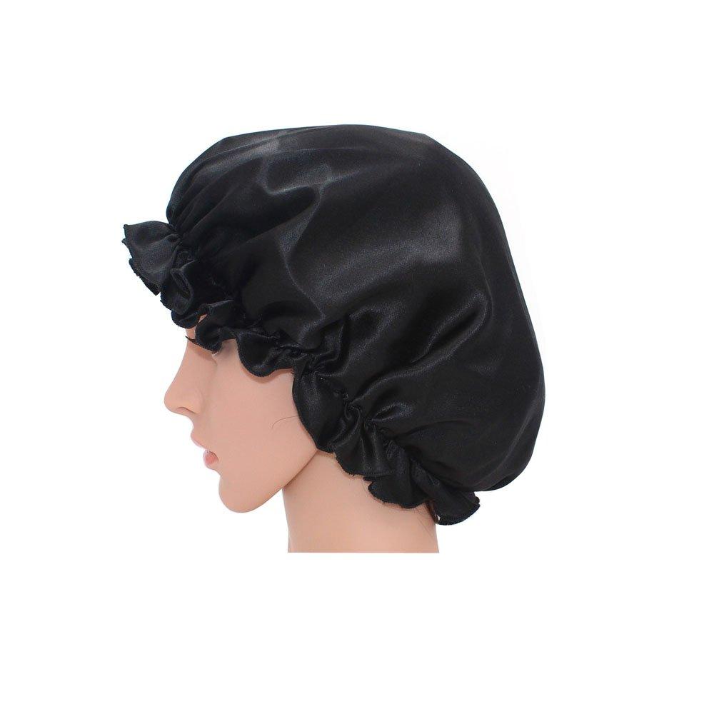 YL trd V Natural Silk Sleep Night Cap Head Cover Silk Bonnet for Hair Beauty(Rose Pink)