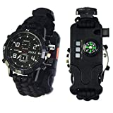 Suzannes Outdoor Paracord Survival Bracelet Sport Digital Watch with Adjustable,Emergency Survival Kit,Compass,Whistle,Fire Starter,Knife,SOS LED Light for Camping Hiking Cycling(Black)
