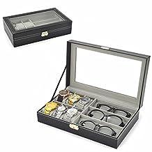 PU Leather 6 Grid 3 Sunglass Watch Jewelry Display Box Case Storage Organizer with Watch Pillows (Black)