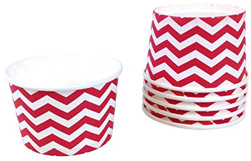 Just Artifacts Paper Ice Cream Cups 12pcs Chevron Red