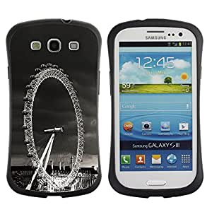 All-Round Hybrid Rubber Case Hard Cover Protective Accessory Gerneration-I Compatible with SAMSUNG GALAXY S3 & I9300 - Architecture London Viewing Wheel