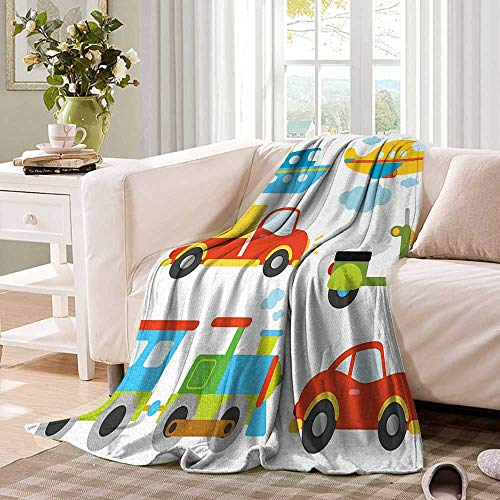 Boyssmall blanketAbstract Transportation Types for Toddlers Car Ship Truck Scooter Train Aeroplanethin Blanket 60