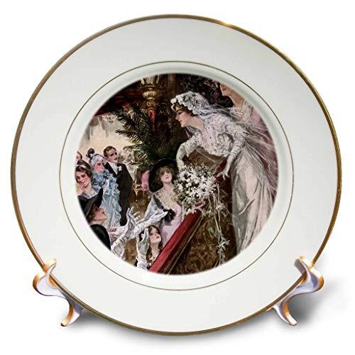 3dRose VintageChest - Harrison Fisher - Harrison Fisher - Bride Toss Bridal Bouquet - 8 inch Porcelain Plate (cp_303076_1)
