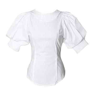 ba81d9d034b7 Puff Short Lantern Sleeve Blouse for Women Round Neck Tops Female White  Shirt