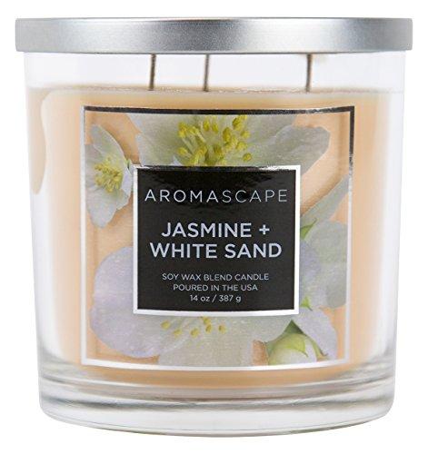Aromascape 3-Wick Scented Jar Candle, Jasmine & White Sand