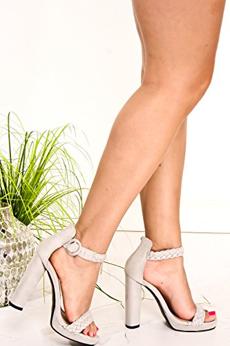 LOLLI COUTURE BLUSH SUEDE OPEN TOE WEAVE STRAP AND ANKLE STRAP CHUNKY HIGH HEELS 5 SUMMERGREYSUEDE GLzqwW