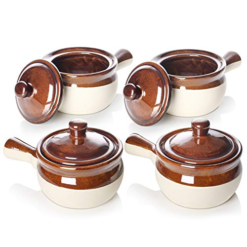 LIFVER French Onion Soup Crocks, Soup Bowls with Handles and Lids, 18 Ounces Ceramic Bowls for Soup, Stew, Chili, Set of -