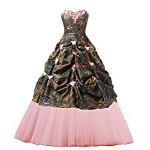 CutieTell Women's Sweetheart Ball Gown Appliques Camouflage Wedding Dresses For Bride