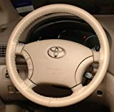 Wheelskins Jaguar Genuine Leather Sand Steering Wheel Cover-Size C