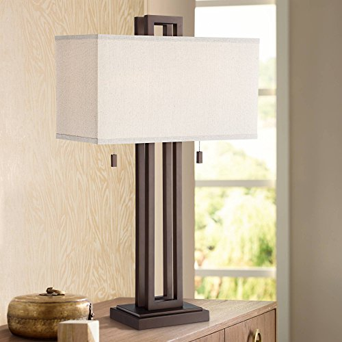 Gossard Modern Table Lamp Bronze Metal Rectangular Off White Box Shade for Living Room Family Bedroom Nightstand – Possini Euro Design