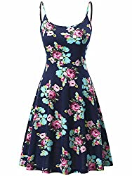 Kira Spaghetti Strap Dress, Women's Adjustable Strappy Floral Summer Casual Midi Dress