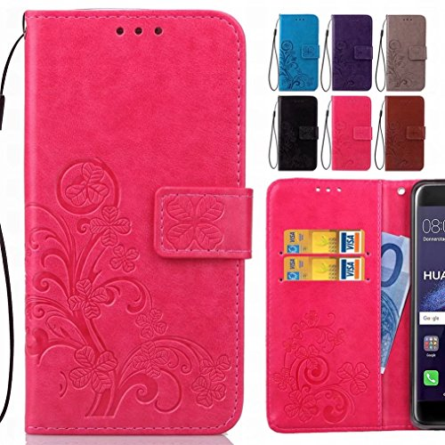 Yiizy Huawei P9 Plus / Fri-l09 / L29 Vie-based, Three Grass Leaf Design Flap Wallet Flip Cover Housing Case Premium Pu Leather Cover Shell Bumper Skin Protective Shell Case Stand Slim Groove Pa