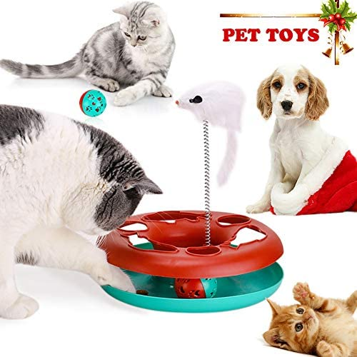 Interactive Cat Toys Tracks Roller Catch Ball Pet Kitten Fun Toy with Teaser Mouse Exercise 7