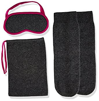 Sofia Cashmere Women's Cashmere Travel Set-Eyemask and Socks, Charocal ZY73186 + Magenta ZY62372, ONE