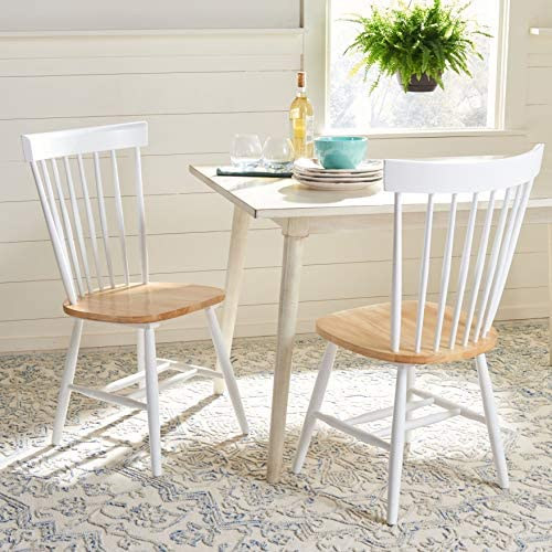 Safavieh Home Parker White and Natural Spindle Dining Chair