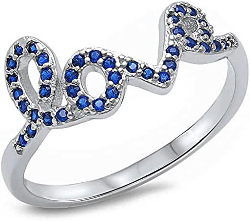 Simulated Blue Sapphire Love .925 Sterling Silver Ring Sizes 4-11