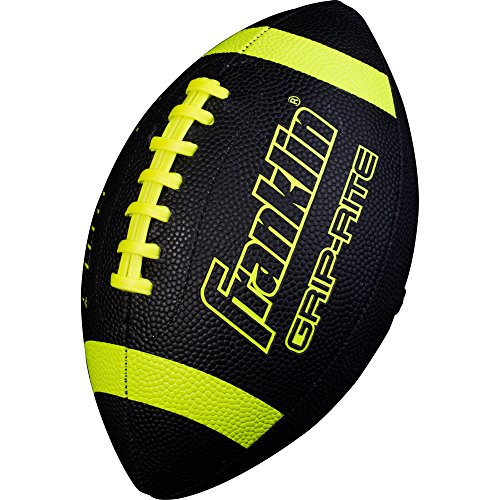 Franklin Sports Junior Size Football - Grip-Rite Youth Footballs - Extra Grip Synthetic Leather Perfect for Kids - Black and Optic
