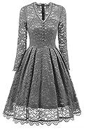 NALATI Women's Vintage Long Sleeve V Neck Floral Print Lace Cocktail Party Dress